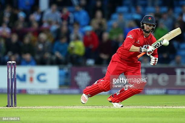 Steven Croft of Lancashire Lightning bats during the NatWest T20 Blast match between Yorkshire Vikings and Lancashire Lightning at Headingley on July...