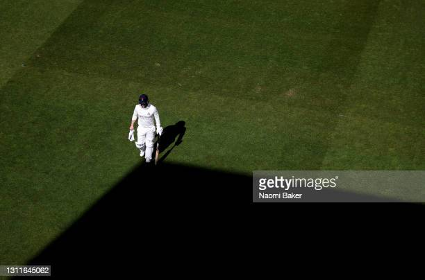 Steven Croft of Lancashire walks off after being caught out by Ben Brown of Sussex during the LV= Insurance County Championship match between Sussex...