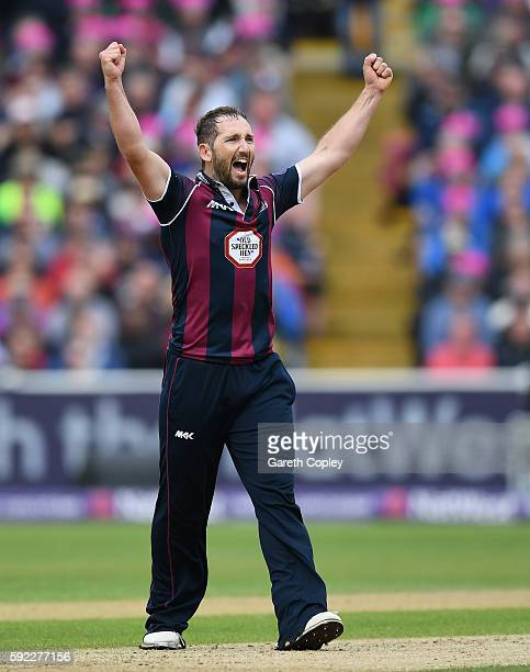 Steven Crook of Northamptonshire celebrates dismissing Steven Mullaney of Nottinghamshire during the NatWest t20 Blast Semi Final between...