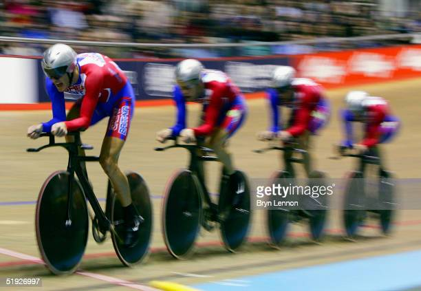 Steven Cummings Rob Hayles Paul Manning and Chris Newton of Great Britain in action in the Men's Team Pursuit during the UCI Track Cycling World Cup...