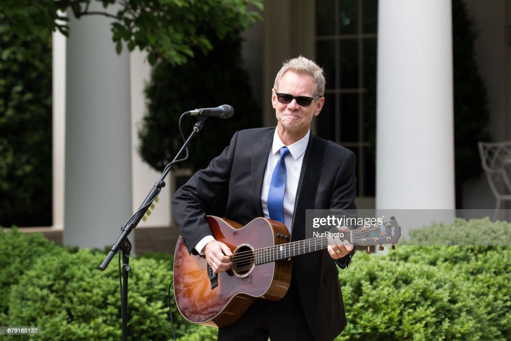 Steven Curtis Chapman, 58-time Dove Award-winning Christian artist, performed at the National Day of Prayer ceremony, in the Rose Garden of the White House, On Thursday, May 4, 2017.