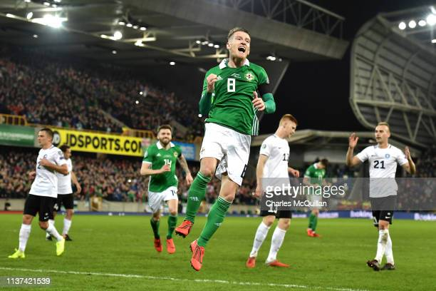 Steven Davies of Northern Ireland celebrates after scoring his sides first goal during the 2020 UEFA European Championships group C qualifying match...