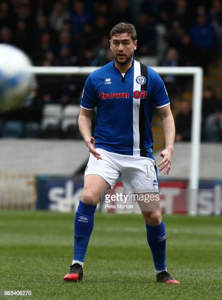 Steven Davies of Rochdale in action during the Sky Bet League One match between Rochdale and Northampton Town at The Crown Oil Arena on April 1 2017...