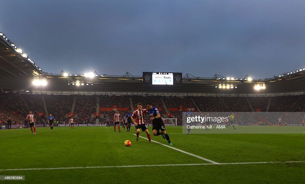 Steven Davies of Southampton and Charlie Daniels of Bournemouth play in the local derby during the Barclays Premier League match between Southampton and A.F.C Bournemouth at St Mary's Stadium on November 1, 2015 in Southampton, England.