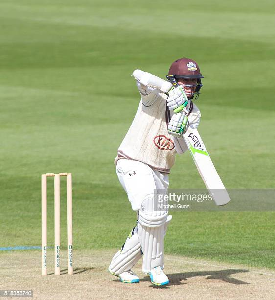 Steven Davies of Surrey batting during the match between Surrey and Loughborough University at the Kia Oval Cricket Ground on March 31 2016 in London...
