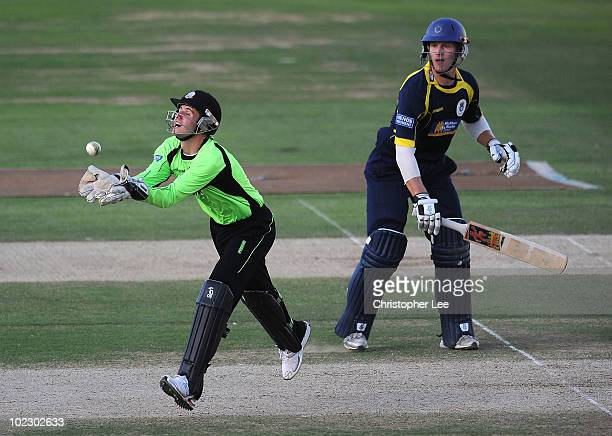 Steven Davies of Surrey catching out Jimmy Adams of Hampshire during the Friends Provident Twenty20 match between Surrey and Hampshire at The Brit...