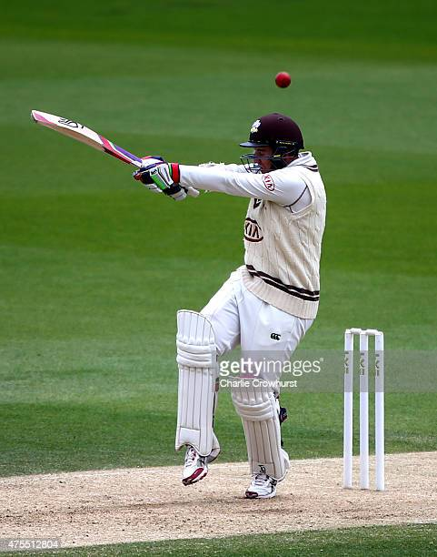 Steven Davies of Surrey hits out during day two of the LV County Championship Division Two match between Surrey and Lancashire at The Kia Oval on...
