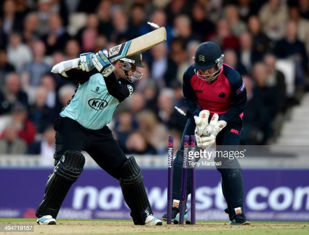 Steven Davies of Surrey is bowled out by Paul Stirling of Middlesex Panthers during the NatWest T20 Blast match between Surrey and Middlesex Panthers...