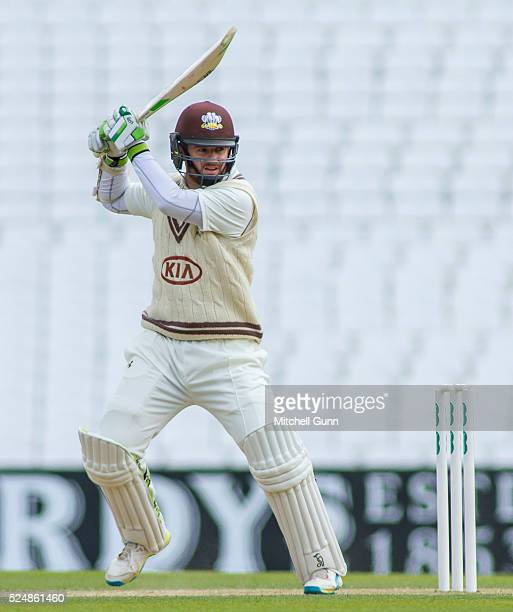 Steven Davies of Surrey plays a shot during the Specsavers County Championship Division One match between Surrey and Somerset at the Kia Oval Cricket...