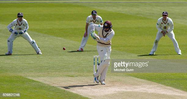 Steven Davies of Surrey plays a shot during the Specsavers County Championship Division One match between Surrey and Durham at the Kia Oval Cricket...