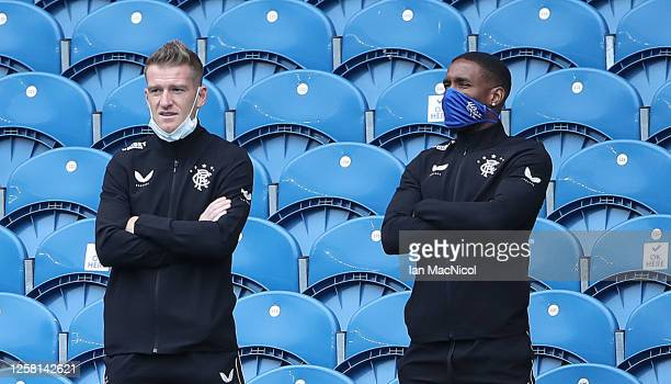 Steven Davis and Jermain Defoe of Rangers are seen prior to the pre season friendly match between Rangers and Coventry City at Ibrox Stadium on July...