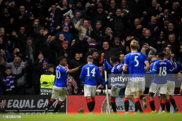 Steven Davis Morelos of Glasgow Rangers celebrates after scoring their second goal during the UEFA Europa League Group G match between Glasgow...