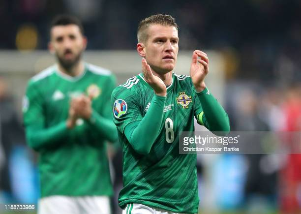 Steven Davis of Northern Ireland claps the fans after the UEFA Euro 2020 Qualifier between Germany and Northern Ireland at Commerzbank Arena on...