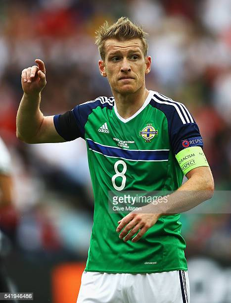 Steven Davis of Northern Ireland gestures during the UEFA EURO 2016 Group C match between Northern Ireland and Germany at Parc des Princes on June 21...