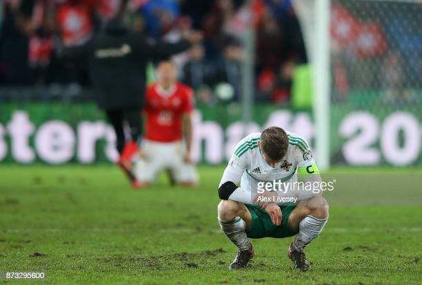 Steven Davis of Northern Ireland looks dejected following the FIFA 2018 World Cup Qualifier PlayOff Second Leg between Switzerland and Northern...