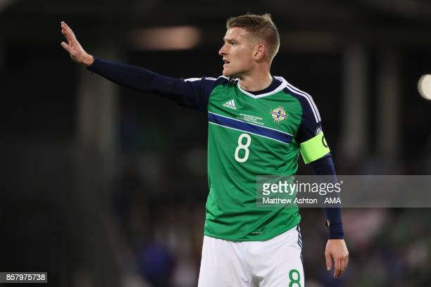 Steven Davis of Northern Ireland looks on during the FIFA 2018 World Cup Qualifier between Northern Ireland and Germany at Windsor Park on October 5...