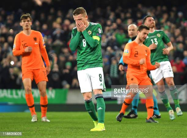 Steven Davis of Northern Ireland reacts after missing a penalty during the UEFA Euro 2020 Group C Qualifier match between Northern Ireland and...