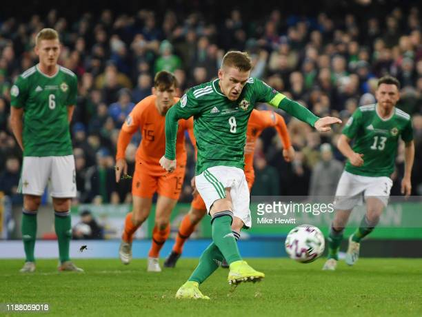 Steven Davis of Northern Ireland shoots a penalty but fails to score during the UEFA Euro 2020 Group C Qualifier match between Northern Ireland and...