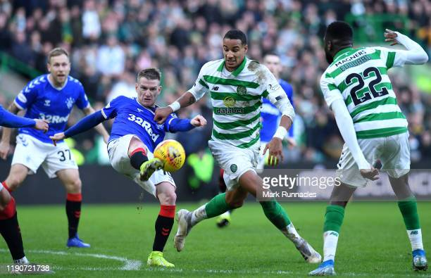 Steven Davis of Rangers and Christopher Jullien of Celtic challenge for the ball during the Ladbrokes Premiership match between Celtic and Rangers at...