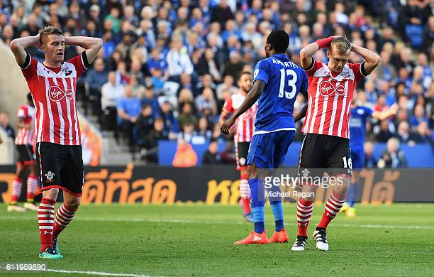 Steven Davis of Southampton and James WardProwse of Southampton react after the latter misses a chance during the Premier League match between...
