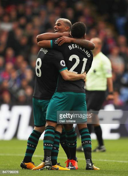 Steven Davis of Southampton celebrates scoring his sides first goal with Ryan Bertrand of Southampton and Mario Lemina of Southampton during the...