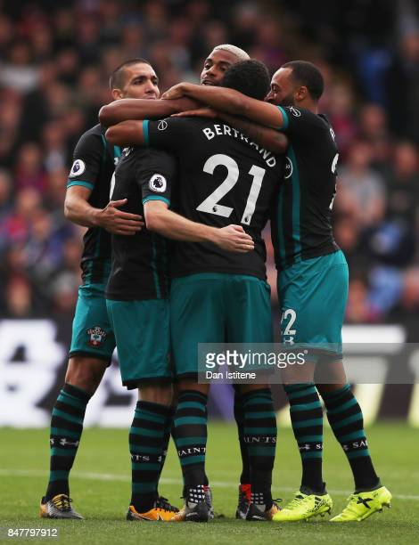 Steven Davis of Southampton celebrates scoring his sides first goal with Ryan Bertrand of Southampton and Mario Lemina of Southampton during the...