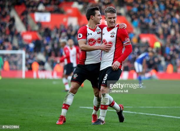 Steven Davis of Southampton celebrates scoring the 4th Southampton goal with Cedric Soares during the Premier League match between Southampton and...