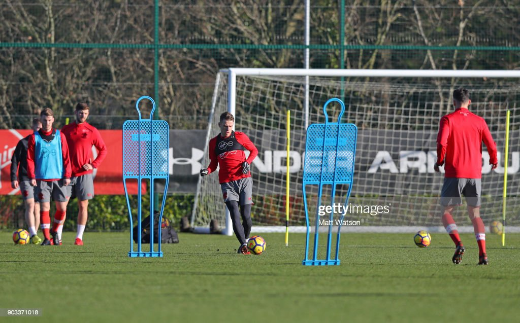 Steven Davis of Southampton FC during a training session at the Staplewood Campus on January 10, 2018 in Southampton, England.