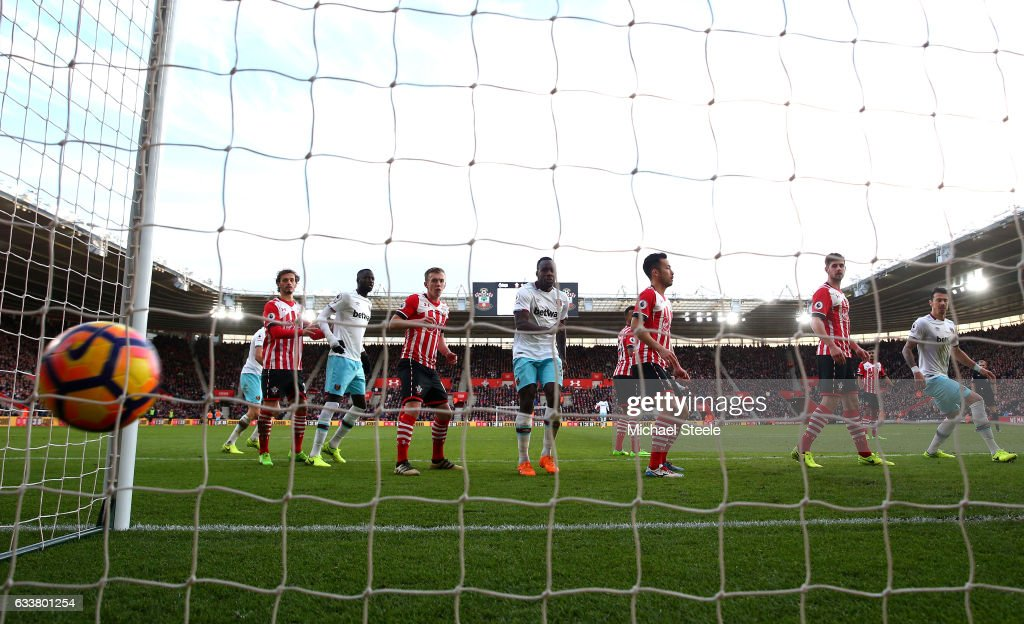Steven Davis of Southampton (not pictured) scores a goal for West Ham Uniteds third goal during the Premier League match between Southampton and West Ham United at St Mary's Stadium on February 4, 2017 in Southampton, England.