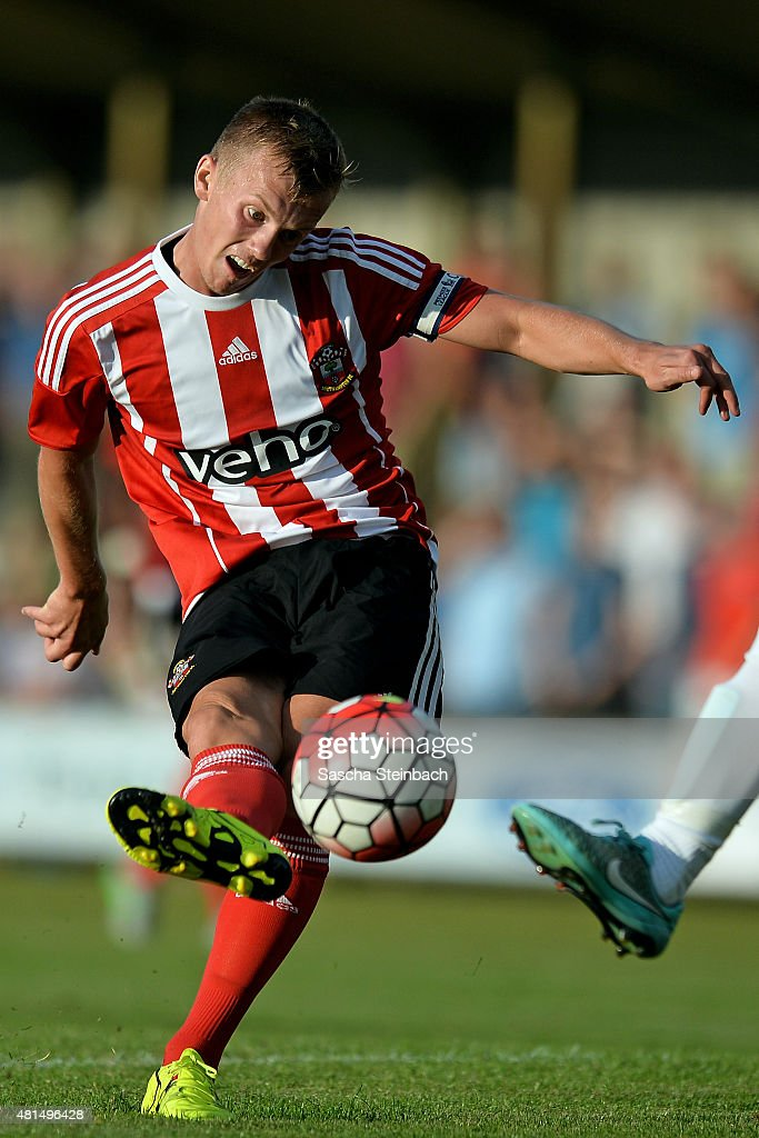 Steven Davis of Southampton shoots on goal during the friendly match between KVV Quick 1920 and FC Southampton at Sportpark De Vondersweijde on July 21, 2015 in Oldenzaal, Netherlands.