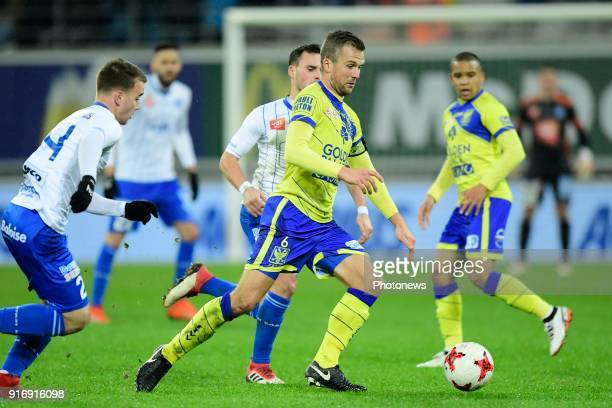 Steven De Petter midfielder of STVV in action during the Jupiler Pro League match between KAA Gent and Sint Truidense VV at the Ghelamco Arena on...
