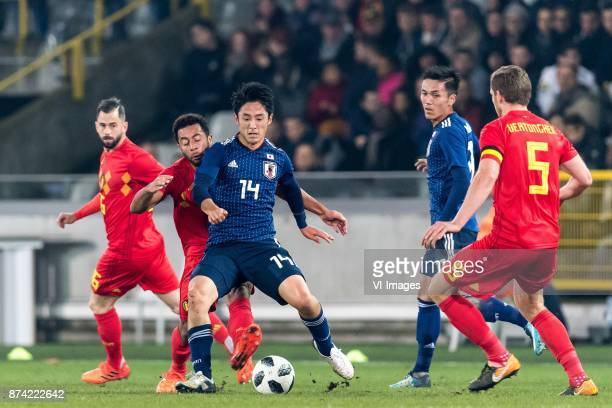 Steven Defour of Belgium Mousa Dembele of Belgium Ryota Morioka of Japan Yuya Kubo of Japan Jan Vertonghen of Belgium during the friendly match...