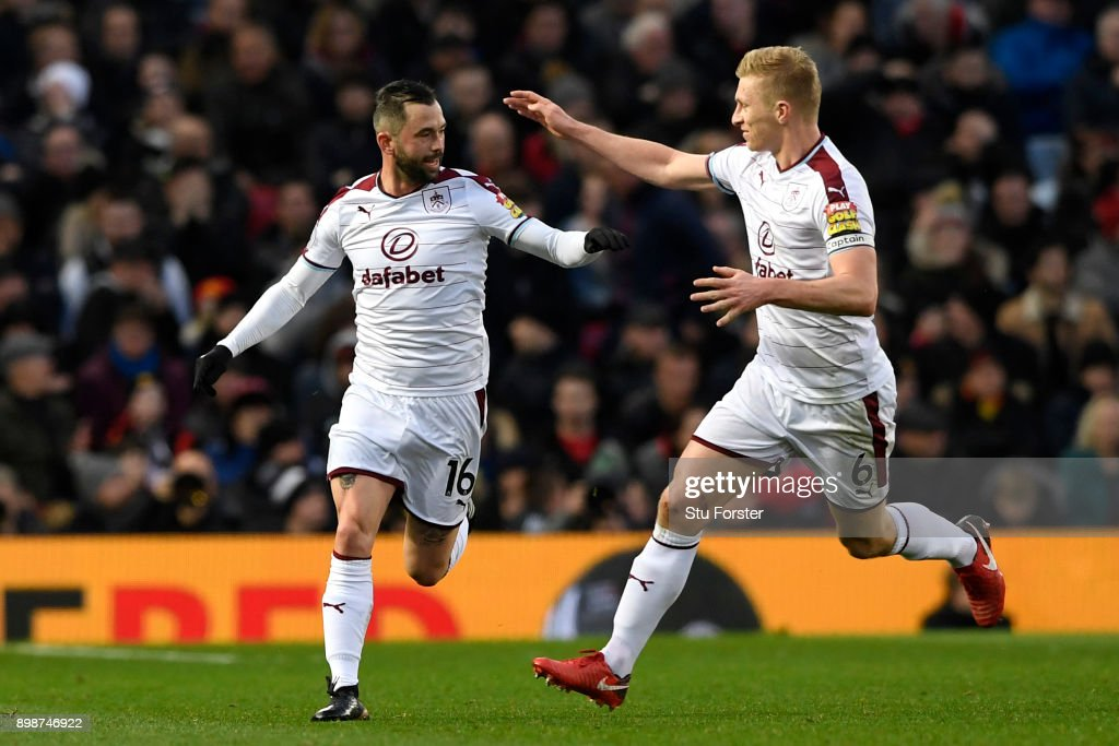 Steven Defour of Burnley celebrates scoring the 2nd Burnley goal with Ben Mee during the Premier League match between Manchester United and Burnley at Old Trafford on December 26, 2017 in Manchester, England.