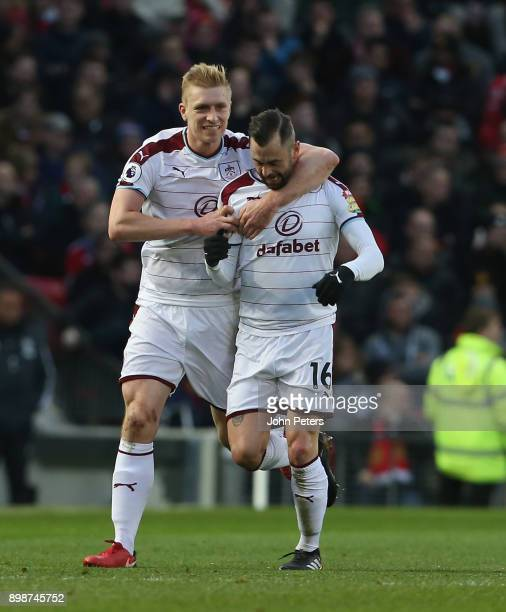Steven Defour of Burnley celebrates scoring their second goal during the Premier League match between Manchester United and Burnley at Old Trafford...