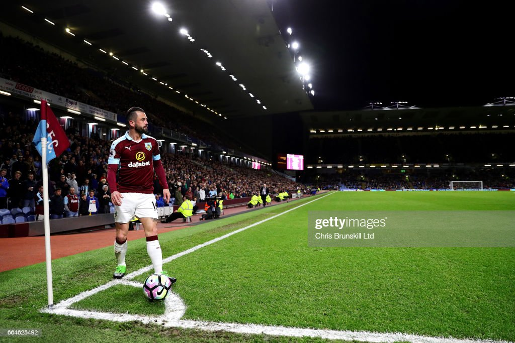 Steven Defour of Burnley prepares to take a corner kick during the Premier League match between Burnley and Stoke City at Turf Moor on April 4, 2017 in Burnley, England.