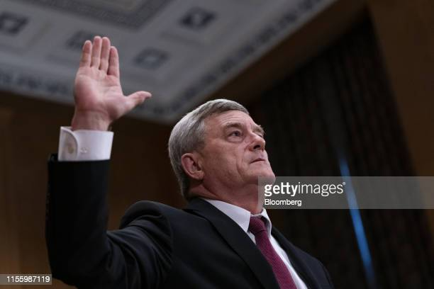 Steven Dillingham director of US Census Bureau is sworn in to a Senate Homeland Security and Governmental Affairs Committee hearing in Washington DC...