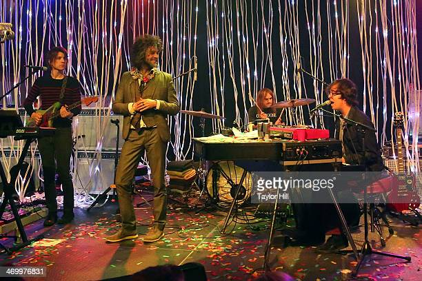 Steven Drozd and Wayne Coyne of The Flaming Lips and Ben Folds perform during the 2014 Bonnaroo Lineup Announcement Megathon at House of Vans on...