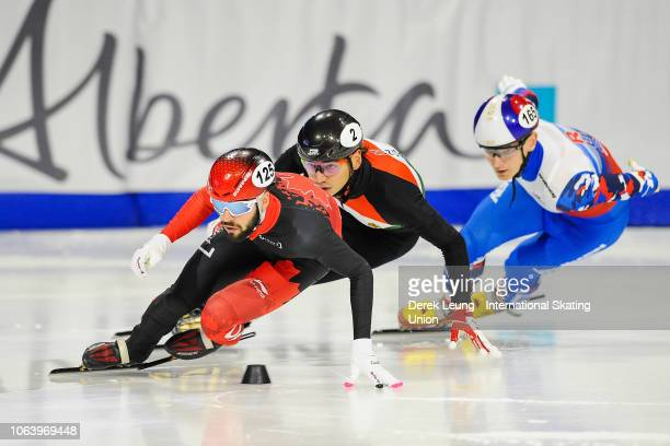 Steven Dubois of Canada skates during the ISU World Cup Short Track Calgary at the Olympic Oval on November 3 2018 in Calgary Alberta Canada Photo by...