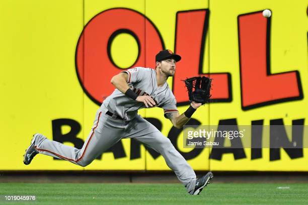 Steven Duggar of the San Francisco Giants chases down a fly ball in center field in the fifth inning against the Cincinnati Reds at Great American...