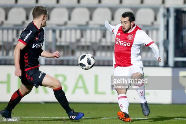 Steven Edwards of Helmond Sport Amin Younes of Ajax U23 during the Dutch Jupiler League match between Ajax U23 v Helmond Sport at the De Toekomst on...