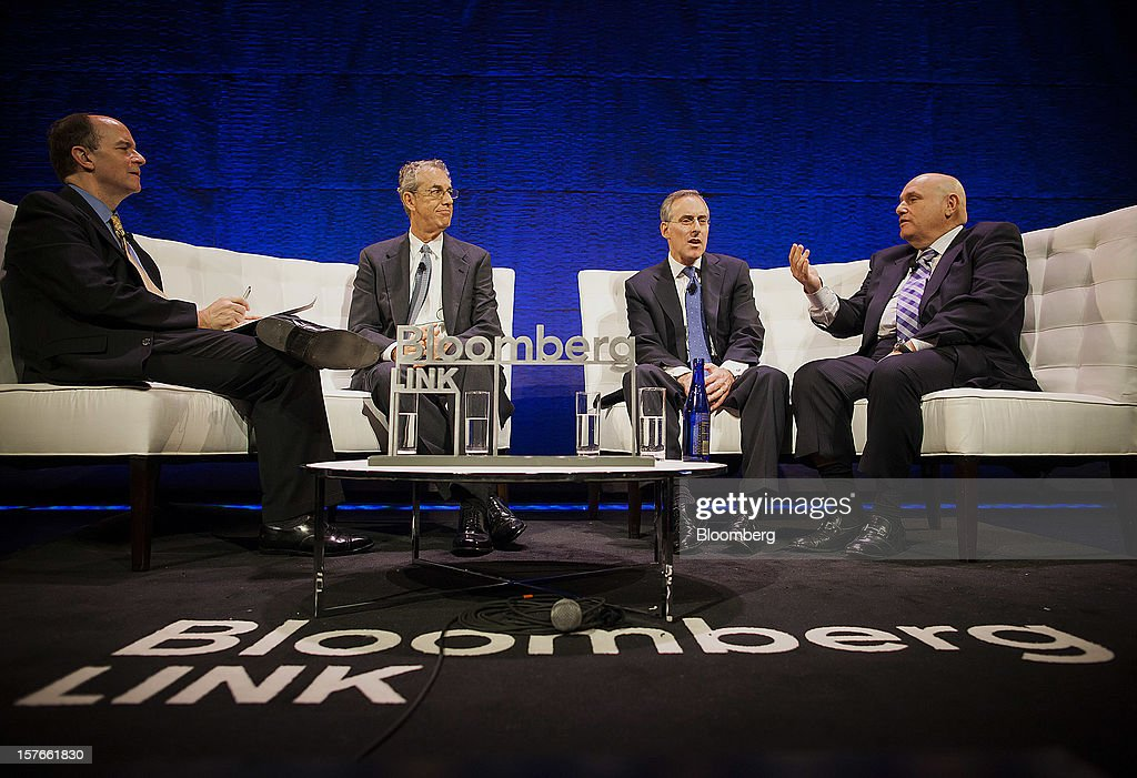 Steven Einhorn, vice chairman of Omega Advisor Inc., from second left, David Kostin, chief strategist of U.S. equity at Goldman Sachs & Co., and Leon Wagner, co-founder and retired chairman of GoldenTree Asset Management, participate in a panel discussion moderated by John Morris, editor of Bloomberg Brief, left, during the Bloomberg Hedge Funds Summit in New York, U.S., on Wednesday, December 5, 2012. The Bloomberg Hedge Funds Summit convenes managers and investors to discuss the impact of the European debt crisis on the global markets and break down the fundamentals driving volatility in the equity markets. Photographer: Michael Nagle/Bloomberg via Getty Images