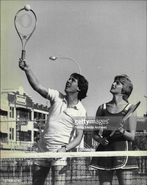 Steven Elder and Jan Kingsbury playing tennis at Manly April 21 1982