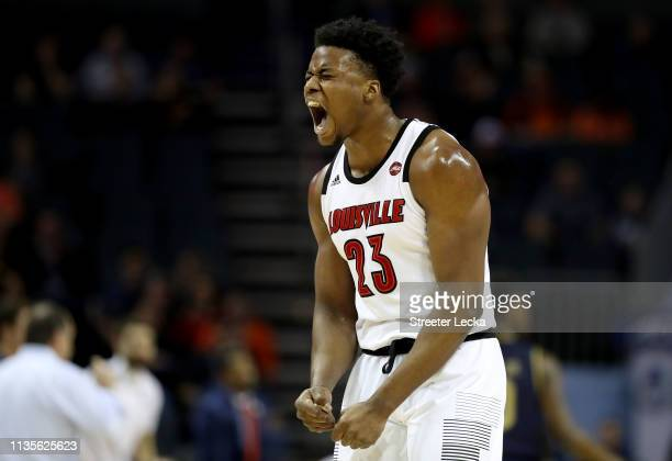 Steven Enoch of the Louisville Cardinals reacts after a play against the Notre Dame Fighting Irish during their game in the second round of the 2019...