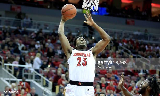 Steven Enoch of the Louisville Cardinals shoots the ball against the Southern Jaguars at KFC YUM Center on November 13 2018 in Louisville Kentucky