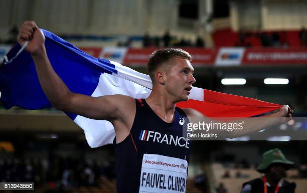 Steven Fauvel Clinch of France celebrates after winning gold in the boys decathlon on day two of the IAAF U18 World Championships at the Kasarani...
