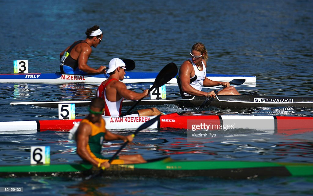 Steven Ferguson of New Zealand prepares for his heat in the Flatwater Men's K1 500m kayak flatwater event at the Shunyi Olympic Rowing-Canoeing Park on Day 11 of the Beijing 2008 Olympic Games on August 19, 2008 in Beijing, China.