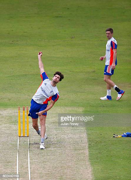 Steven Finn and Chris Woakes of England bowl during England nets and training session at Sahara Stadium Kingsmead on December 25 2015 in Durban South...