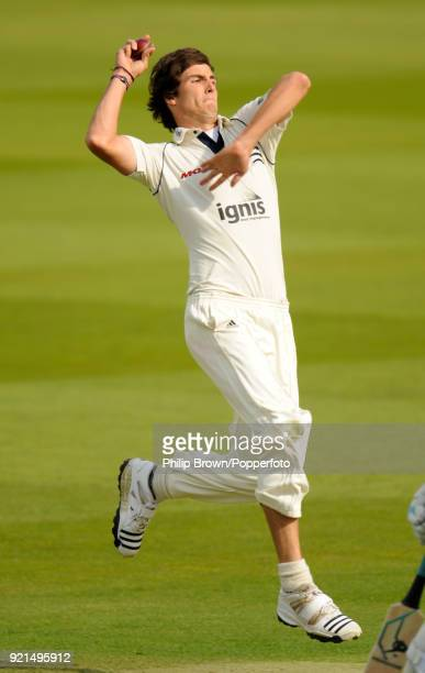 Steven Finn bowling for Middlesex during the LV County Championship match between Middlesex and Glamorgan at Lord's Cricket Ground London 15th April...
