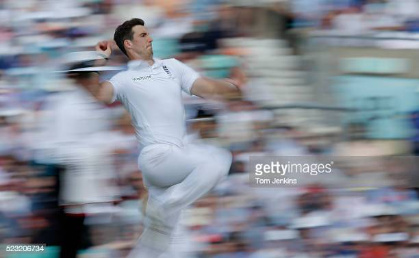 Steven Finn bowls during day two of the 5th Ashes test match England v Australia at The Oval on August 21st 2015 in London