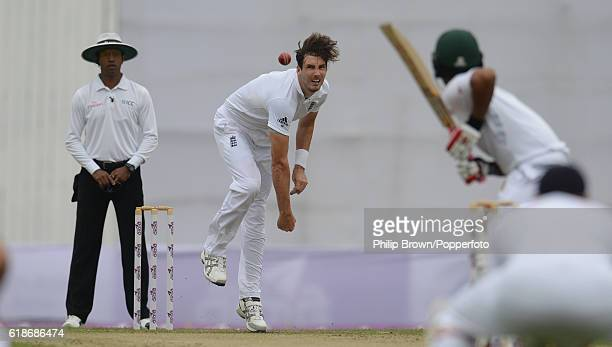 Steven Finn bowls during the second test match between Bangladesh and England at Shere Bangla National Stadium on October 28 2016 in Dhaka Bangladesh